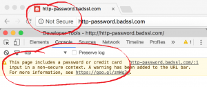 Warning of no SSL Certificate